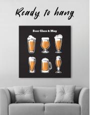 Beer Glass and Mug Canvas Wall Art