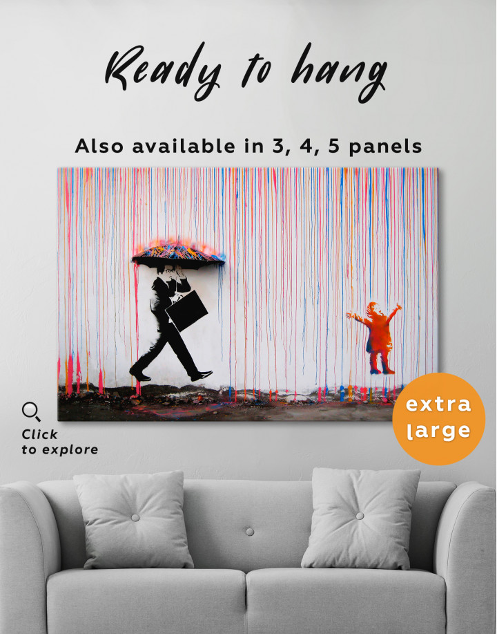Banksy Umbrella Rainbow Canvas Wall Art - Image 0