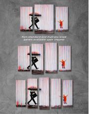 Banksy Umbrella Rainbow Canvas Wall Art - Image 3