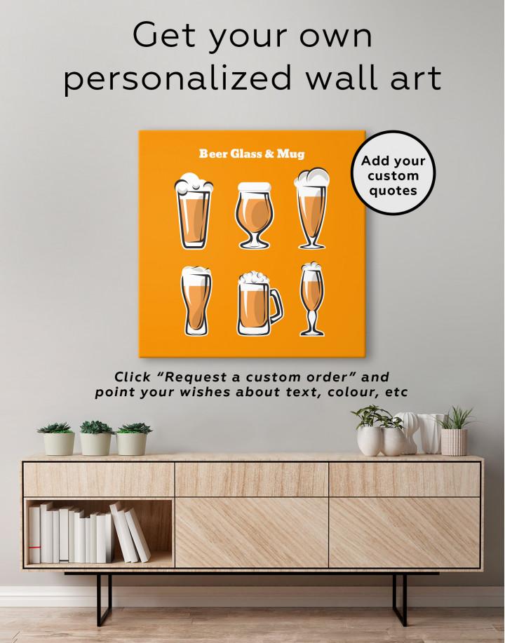 Beer Glass and Mug Canvas Wall Art - Image 3
