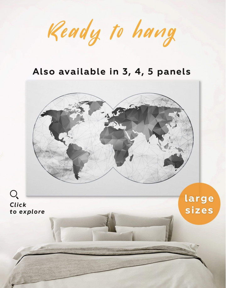Gray Geometric World Map Canvas Wall Art - Image 0