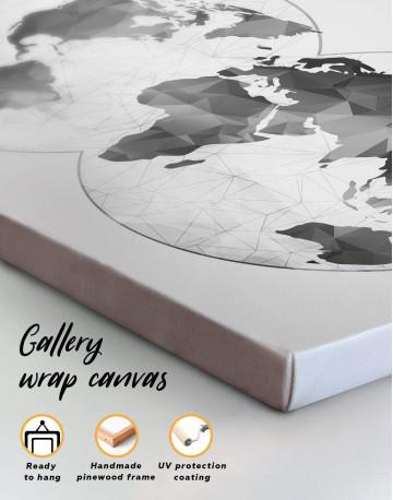 Gray Geometric World Map Canvas Wall Art - image 4