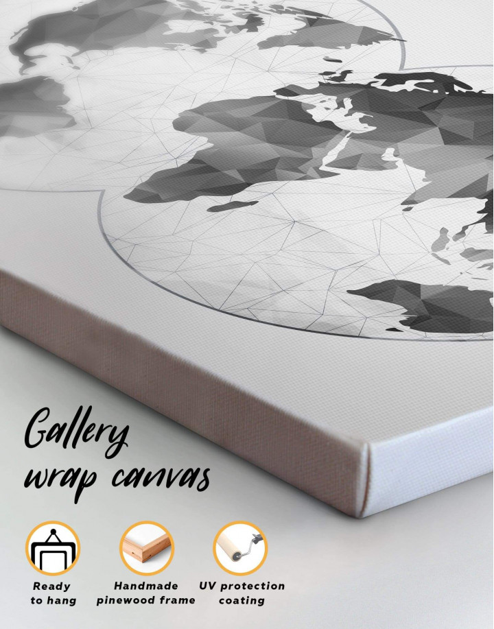 Gray Geometric World Map Canvas Wall Art - Image 4