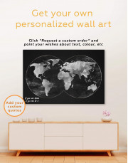 Gray Geometric World Map Canvas Wall Art - Image 1