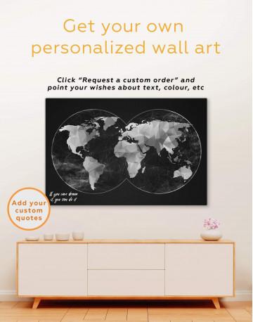 Gray Geometric World Map Canvas Wall Art - image 1