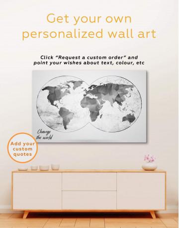 Black Hemisphere World Map Canvas Wall Art - image 4