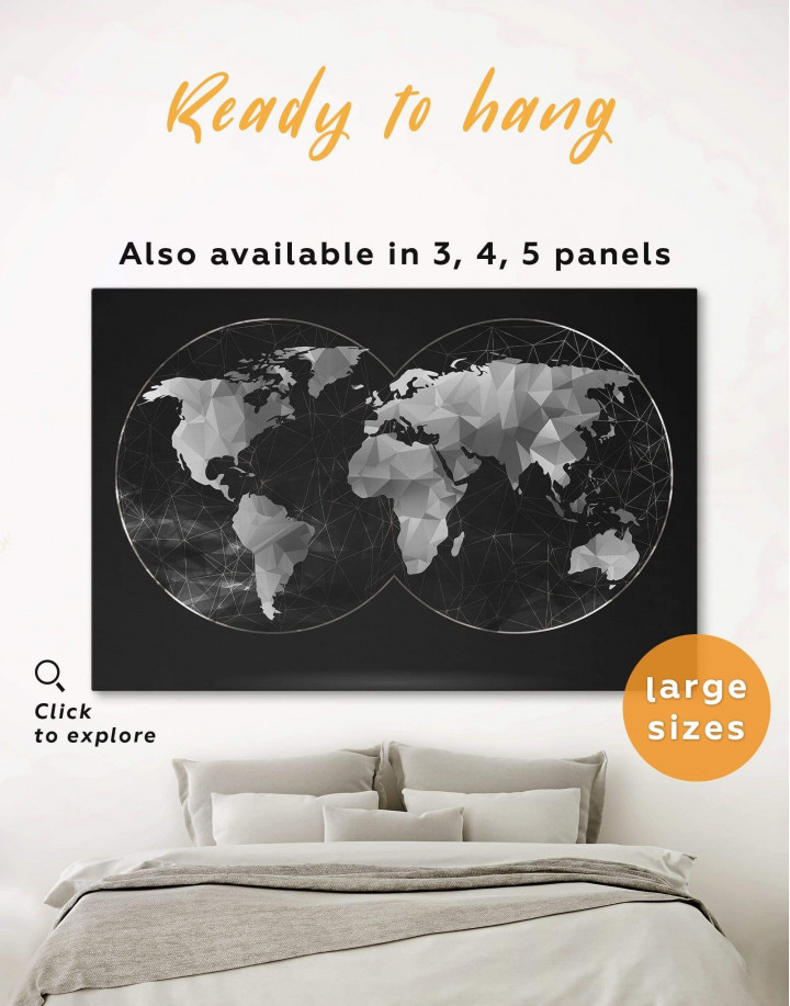 Black Hemisphere World Map Canvas Wall Art - Image 0