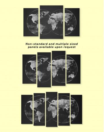 Black Hemisphere World Map Canvas Wall Art - image 3