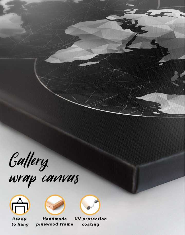 Black Hemisphere World Map Canvas Wall Art - Image 3