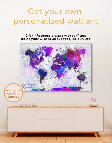 Color Splash World Map Canvas Wall Art - image 2