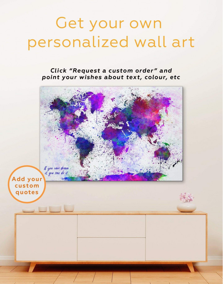 Color Splash World Map Canvas Wall Art - Image 2