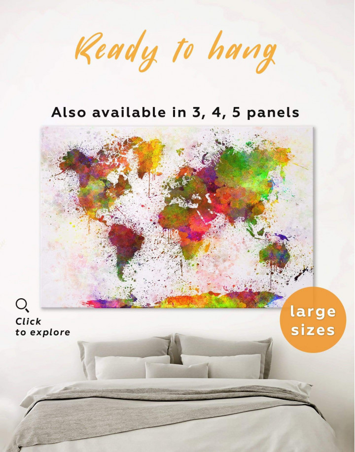 Color Splash World Map Canvas Wall Art - Image 0