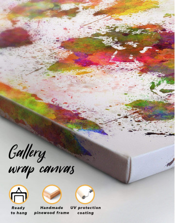 Color Splash World Map Canvas Wall Art - image 1