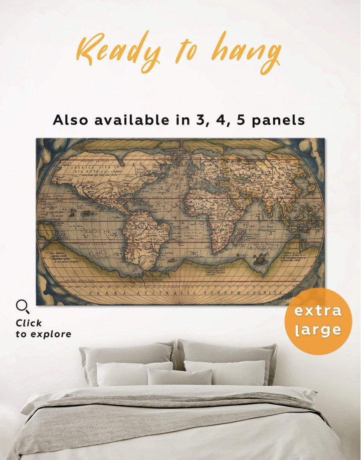Vintage World Map Canvas Wall Art - Image 0