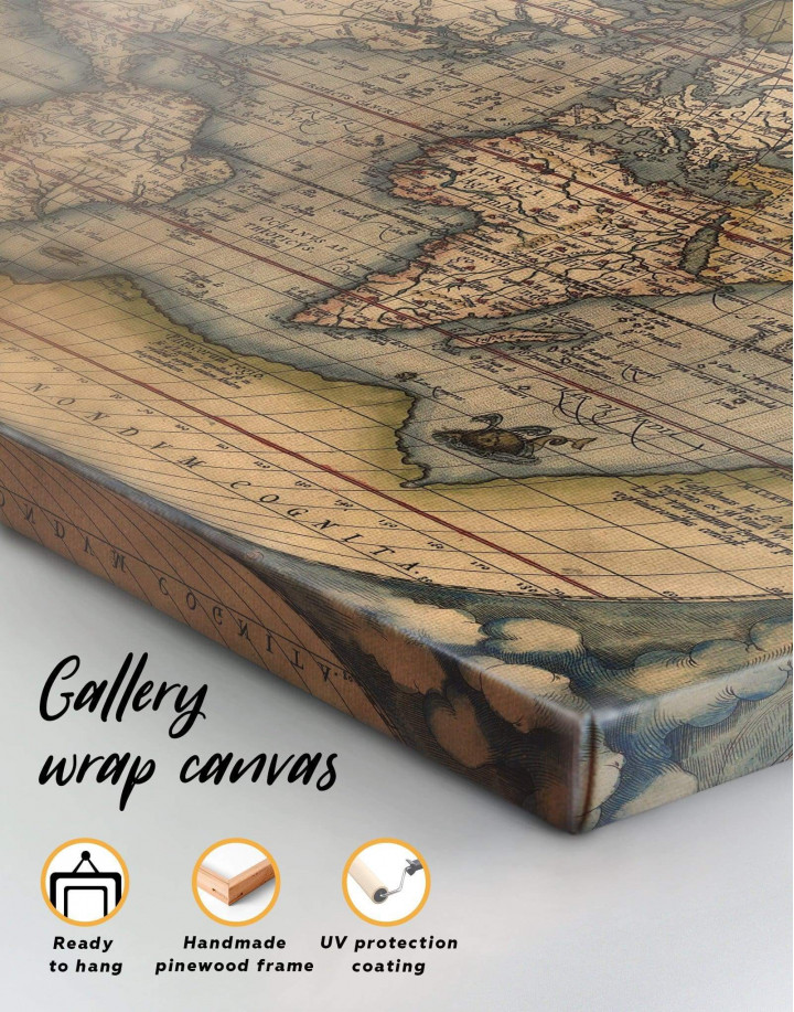 Vintage World Map Canvas Wall Art - Image 1