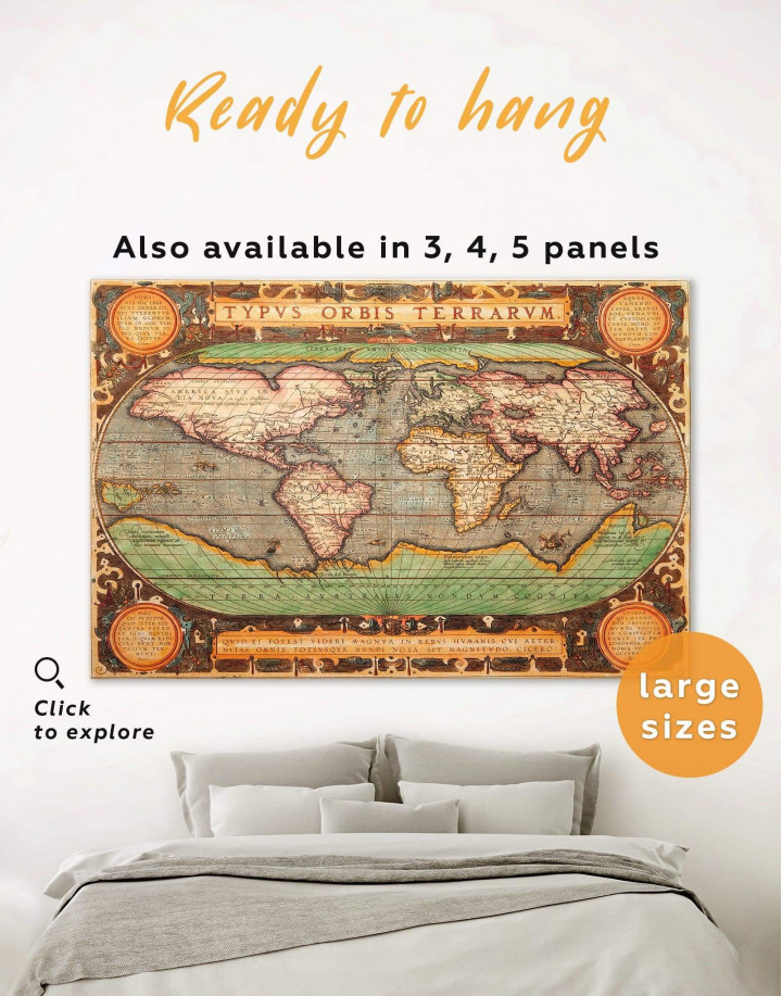 Vintage Map Canvas Wall Art - Image 0