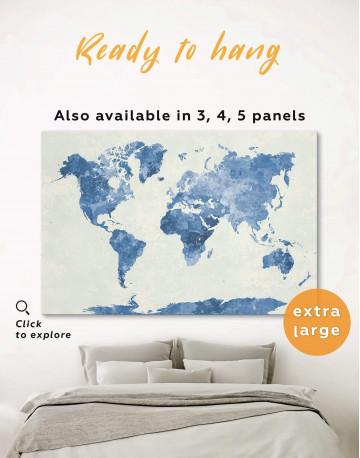 Watercolor Blue World Map Canvas Wall Art