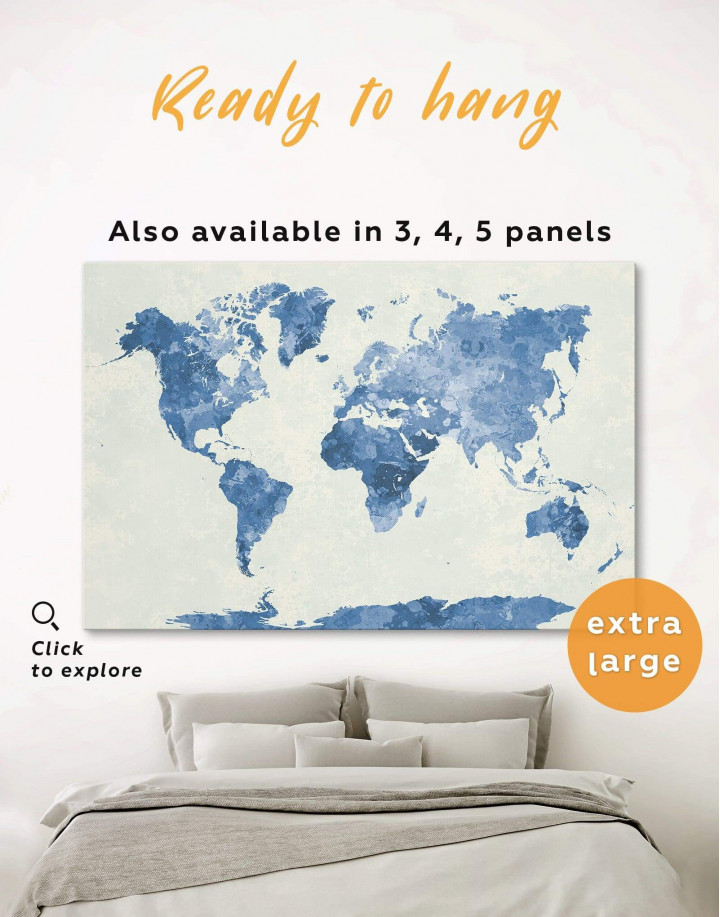 Watercolor Blue World Map Canvas Wall Art - Image 0