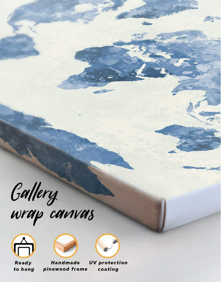 Watercolor Blue World Map Canvas Wall Art - Image 3