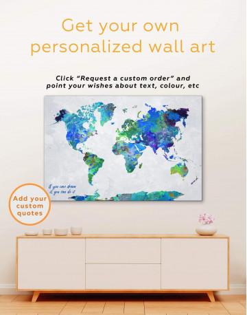 Abstract Watercolor Map Canvas Wall Art - image 1