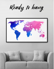 Blue and Purple Abstract World Map Canvas Wall Art