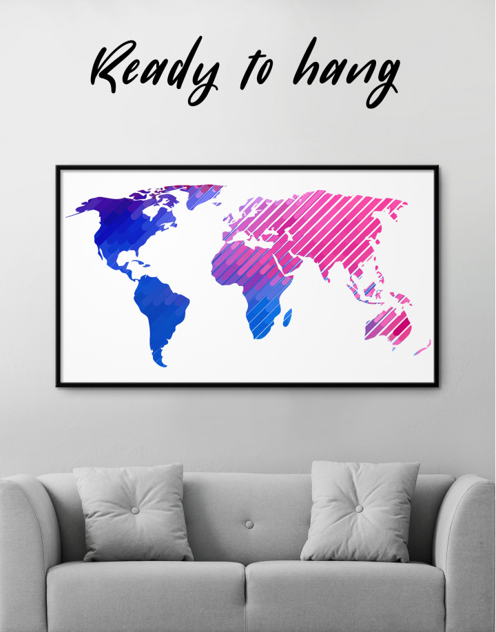 Blue and Purple Abstract World Map Canvas Wall Art - Image 0