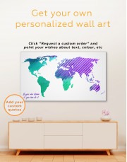 Blue and Purple Abstract World Map Canvas Wall Art - Image 2