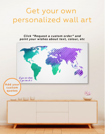 Blue and Purple Abstract World Map Canvas Wall Art - image 3