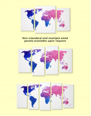 Blue and Purple Abstract World Map Canvas Wall Art - Image 4