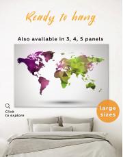 Purple and Green Geometric World Map Canvas Wall Art