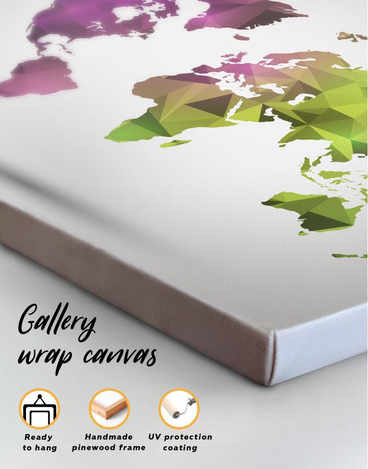 Purple and Green Geometric World Map Canvas Wall Art - Image 1