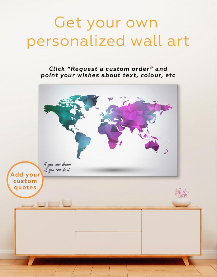 Purple and Green Geometric World Map Canvas Wall Art - Image 3