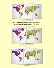 Purple and Green Geometric World Map Canvas Wall Art - Image 2