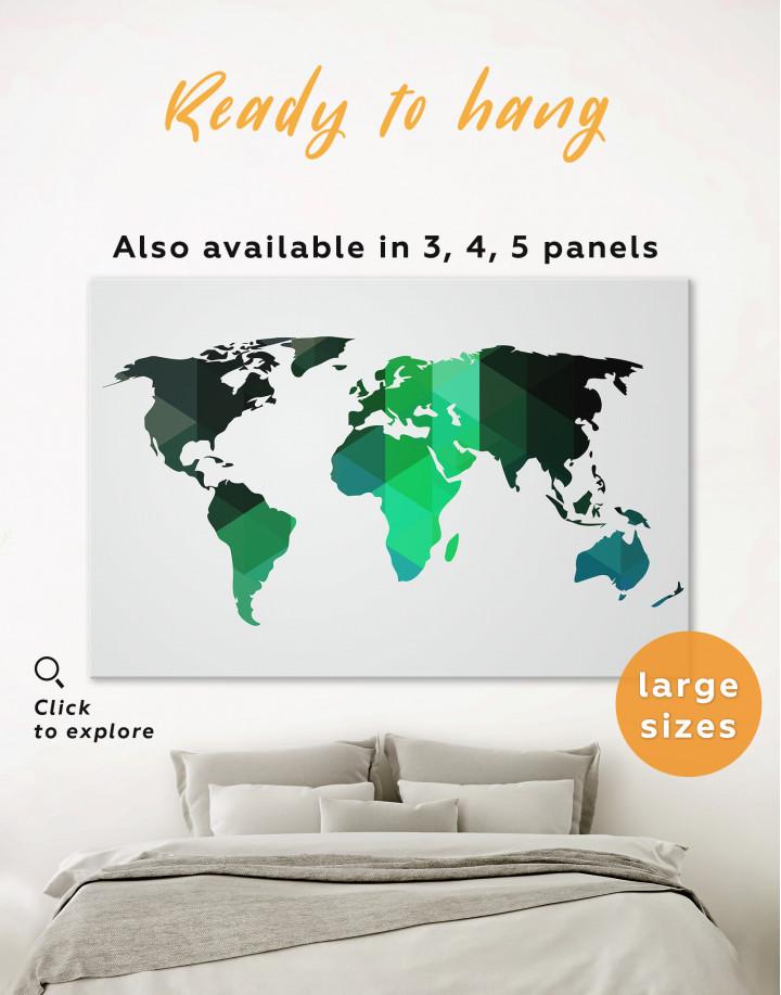 Green Geometric World Map Canvas Wall Art - Image 0