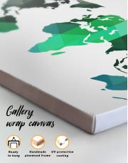 Green Geometric World Map Canvas Wall Art - Image 2