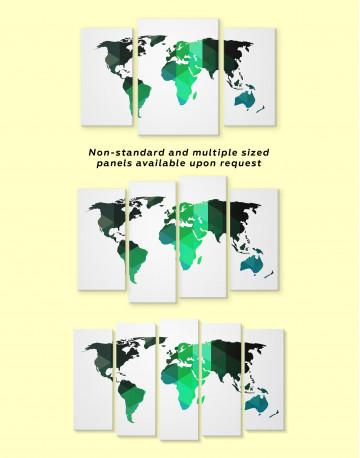 Green Geometric World Map Canvas Wall Art - image 3