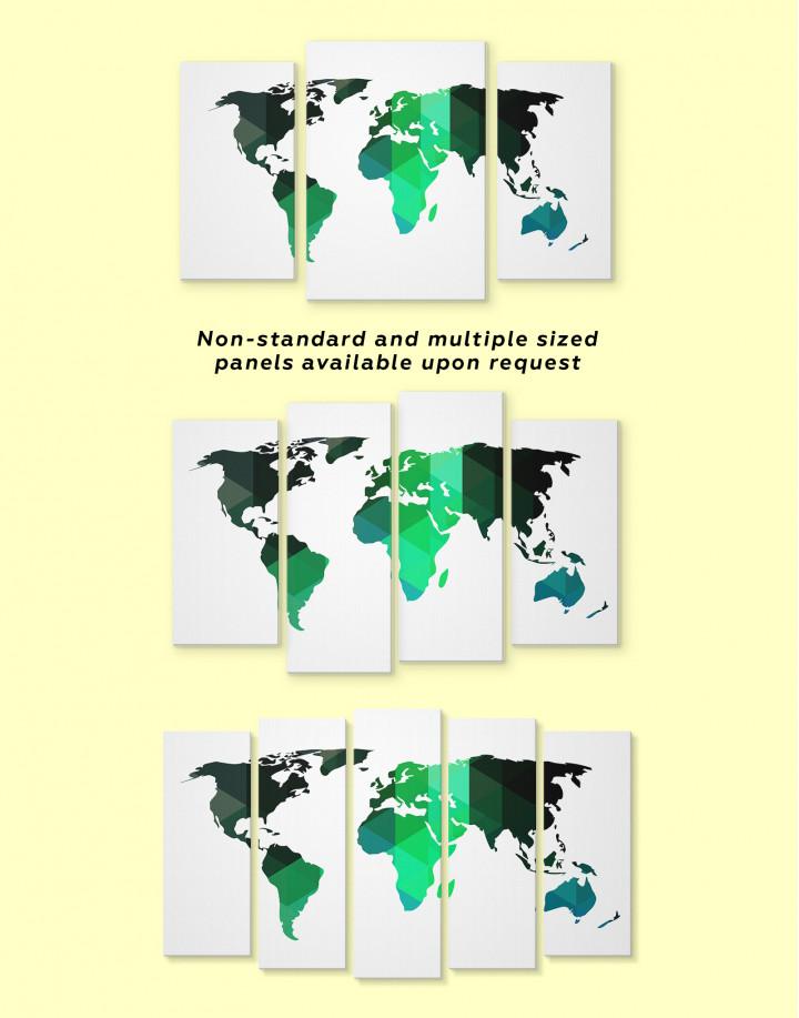 Green Geometric World Map Canvas Wall Art - Image 1