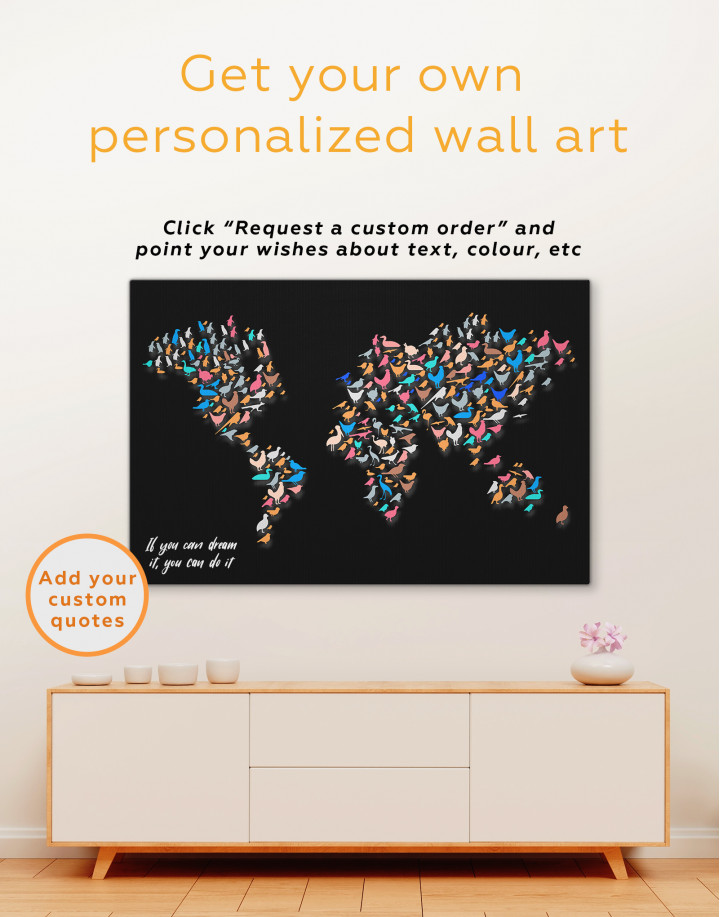 Abstract Animal World Map Canvas Wall Art - Image 3