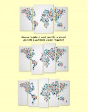 Abstract Animal World Map Canvas Wall Art - Image 1