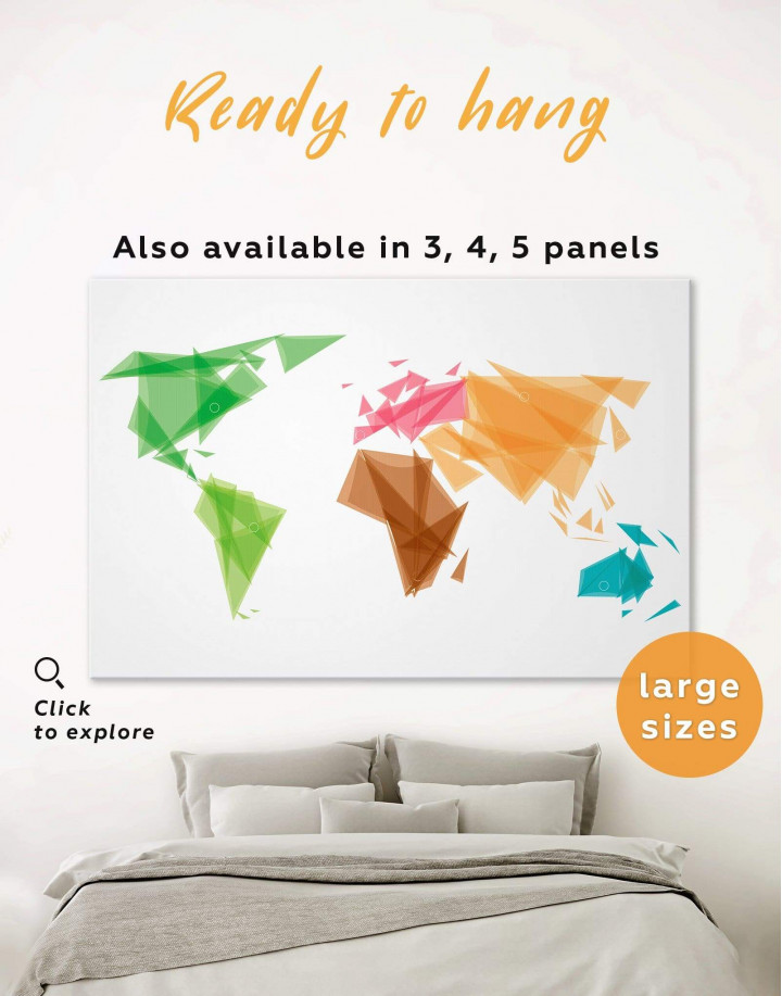Geometric Map of the World Canvas Wall Art - Image 0