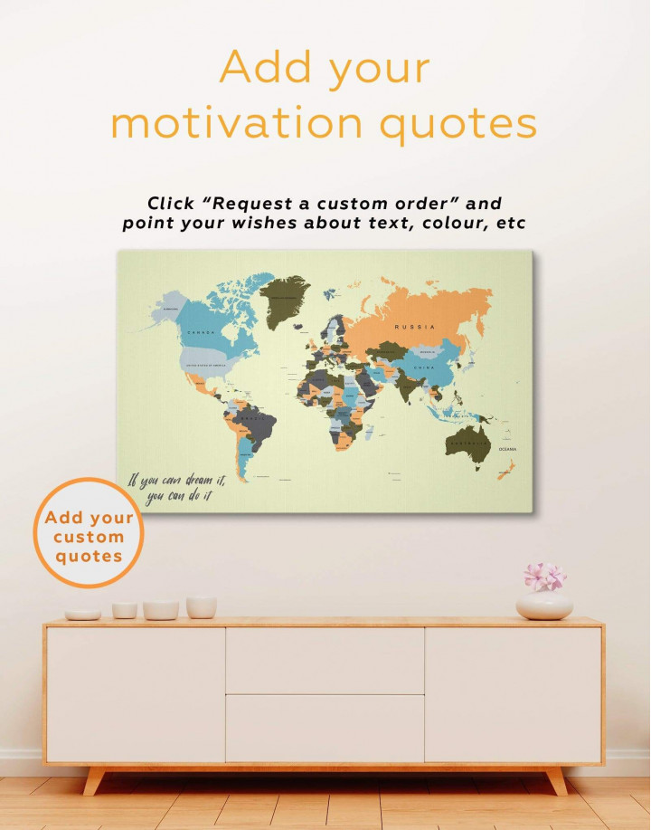 Political Map of the World Canvas Wall Art - Image 1