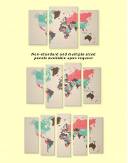 Political Map of the World Canvas Wall Art - Image 2