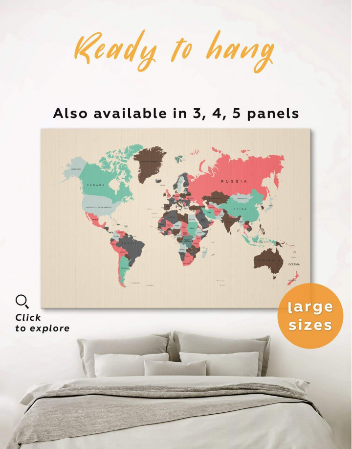 Political Map of the World Canvas Wall Art