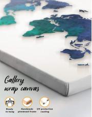 Abstract Aquamarine World Map Canvas Wall Art - Image 4