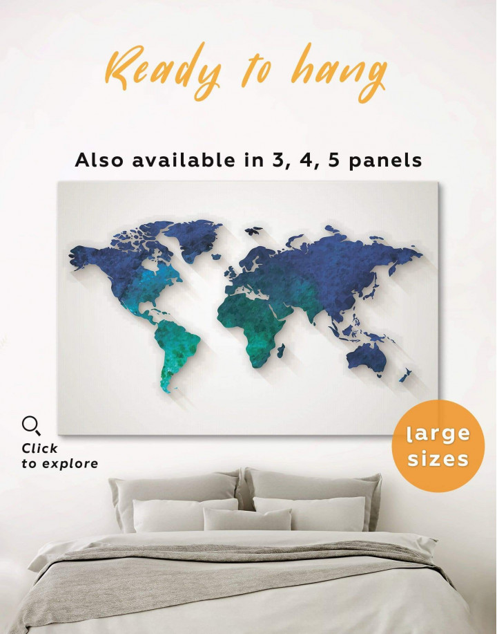 Abstract Aquamarine World Map Canvas Wall Art