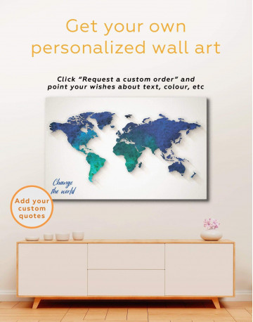 Abstract Aquamarine World Map Canvas Wall Art - image 1