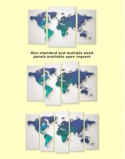 Abstract Aquamarine World Map Canvas Wall Art - Image 2