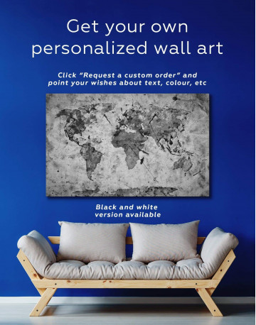 Rustic Abstract World Map Canvas Wall Art - image 1