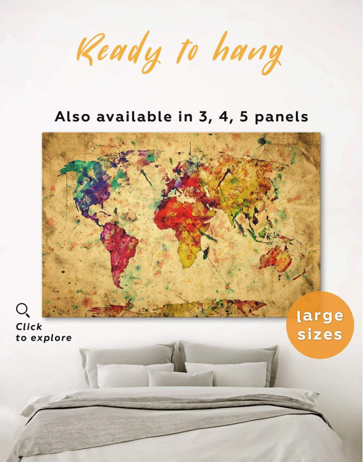Rustic Abstract World Map Canvas Wall Art - Image 0