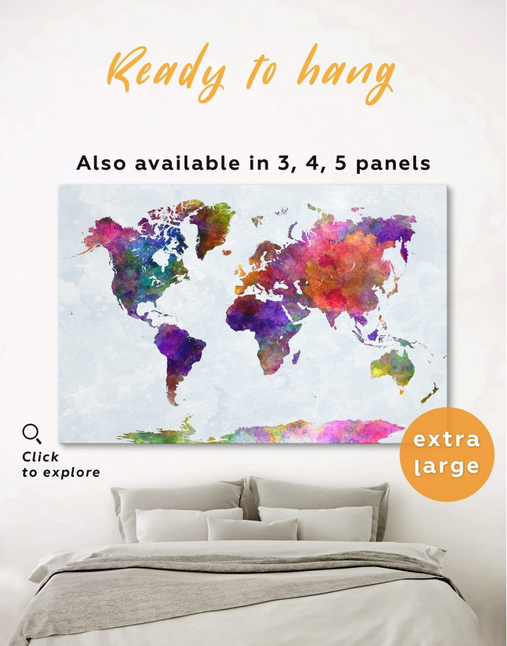 Modern Colorful World Map Canvas Wall Art - Image 0
